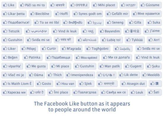 Bouton j'aime facebook dans toutes les langues