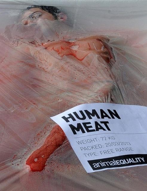 barquette cellophane viande humaine