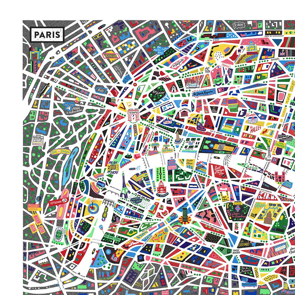 Plan de Paris en couleur © Antoine Corbineau