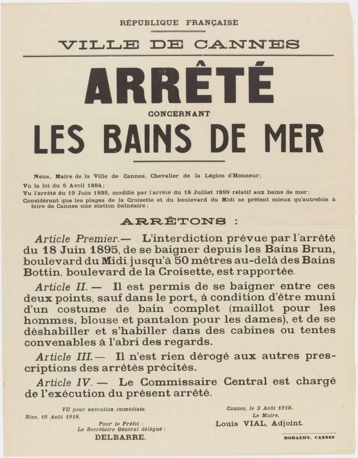 Cannes : Les bains de mer, arrêté de 1895